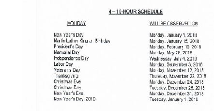 R-18-02 Holiday Schedule