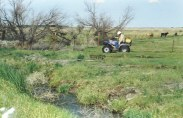 A 4-wheeler all terrain vehicle sprays a substance near a watery ditch