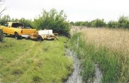 A truck is parked close to a narrow waterway in a field of tall grasses