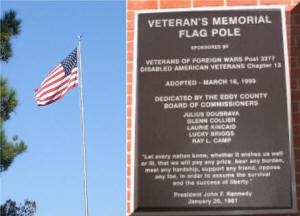 Veteran's Memorial Flag Pole and informational plaque