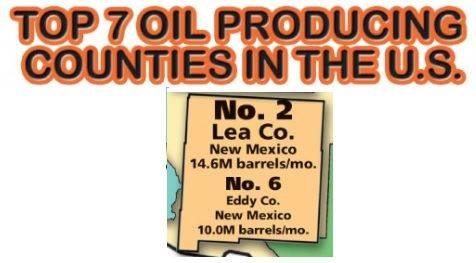 Lea and Eddy County Ranked as Oil Producing Counties Graphic