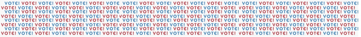 8 lines of Vote! Vote! Vote! Banner in Red and Blue  (JPG)